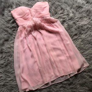 100% Silk Blush Pink Strapless Chiffon Tea Dress 4